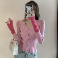 Wool knitwear Autumn 2020 Average size Green, baby blue, cherry blossom powder Long sleeves singleton  Socket other 30% and below Regular commute Self cultivation V-neck routine Color matching Korean version 18-24 years old Other / other Button