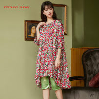Dress Summer 2020 Decor S,M,L Middle-skirt singleton  elbow sleeve commute Crew neck middle-waisted Broken flowers Socket A-line skirt bishop sleeve 35-39 years old Type A Ground show Retro 6202L124 More than 95% silk