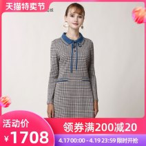 Dress Spring 2020 lattice Mid length dress singleton  Long sleeves commute square neck middle-waisted lattice A button A-line skirt routine Others 40-49 years old Type A Anlom / Yanu lady knitting 51% (inclusive) - 70% (inclusive) knitting cotton Same model in shopping mall (sold online and offline)