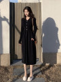 Dress Autumn of 2019 black Average size Mid length dress singleton  Long sleeves commute V-neck Loose waist Solid color Single breasted A-line skirt routine Others 18-24 years old Other / other Korean version 31% (inclusive) - 50% (inclusive) other