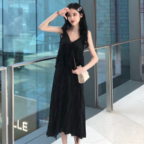 Dress Spring 2021 White, black Average size Mid length dress singleton  Sleeveless commute V-neck Loose waist other Socket other other Others 18-24 years old Type H Other / other Korean version More than 95% Chiffon polyester fiber