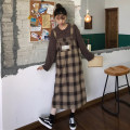 Dress Autumn of 2019 Plaid strap skirt piece, knitwear piece Average size Mid length dress singleton  Sleeveless commute Loose waist lattice Socket other straps 18-24 years old Type H Korean version Button 30% and below other