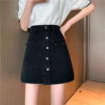 skirt Spring 2021 S,M,L,XL White, black Short skirt commute High waist A-line skirt Solid color Type A 18-24 years old 30% and below other other Pocket, button Korean version