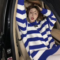 sweater Spring 2021 Average size blue Long sleeves Socket singleton  Medium length other 30% and below Crew neck commute routine stripe Keep warm and warm 18-24 years old