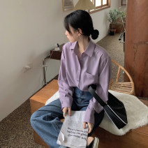 shirt Purple, gray blue, pink Average size Summer 2020 other 30% and below Long sleeves commute Polo collar Single row multi button routine Solid color 18-24 years old Korean version Pocket, button