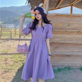 Dress Spring 2021 Purple, pink Average size Short skirt singleton  Short sleeve commute V-neck High waist Solid color other other other Others 18-24 years old Type A Korean version Frenulum 30% and below other