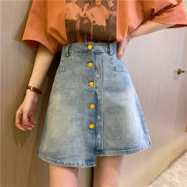 skirt Summer 2020 S,M,L,XL Picture color Short skirt commute High waist Irregular other Type A 18-24 years old 30% and below other other Old, button Korean version