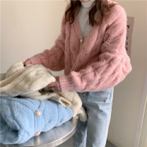 sweater Spring 2021 Average size Off white, light pink, light blue Long sleeves Cardigan singleton  other 30% and below V-neck thickening commute routine other Keep warm and warm 18-24 years old Single breasted