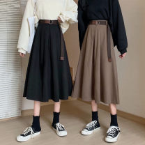skirt Winter 2020 Average size Camel, black Mid length dress commute High waist A-line skirt Solid color Type A 18-24 years old 31% (inclusive) - 50% (inclusive) other other Korean version