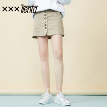 skirt Summer of 2019 S M Khaki dark blue Short skirt Versatile Natural waist A-line skirt Type H 18-24 years old H0221751 More than 95% xxxtrenta other Other 100% Same model in shopping mall (sold online and offline)