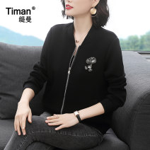 short coat Spring 2021 M L XL XXL XXXL black Long sleeves routine routine singleton  easy commute routine stand collar zipper Cartoon animation 40-49 years old Timan 71% (inclusive) - 80% (inclusive) Three dimensional decorative stitching with drill pocket thread TM9497 polyester fiber