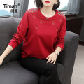 Sweater / sweater Spring 2021 gules M L XL XXL XXXL Long sleeves routine Socket singleton  routine Crew neck easy commute routine Solid color 40-49 years old 91% (inclusive) - 95% (inclusive) Timan Simplicity cotton TM9473 Asymmetric embroidery Cotton 95% polyurethane elastic fiber (spandex) 5%