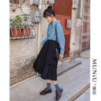 skirt Autumn of 2019 Average size black longuette commute High waist Pleated skirt Solid color Type A 18-24 years old More than 95% Mu Niu cotton fold literature Cotton 100% Pure e-commerce (online only)