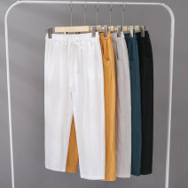 Casual pants Yellow Khaki black green M L XL Summer of 2019 trousers Haren pants Natural waist commute Thin money LY0219067 Case bacteria Korean version pocket Other 100% Pure e-commerce (online only)