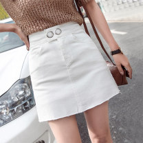 skirt Spring 2020 S M L XL 2XL Pink white black blue Short skirt Versatile High waist skirt Solid color Type A 18-24 years old Denim Hooyiu / Huoyu Button Pure e-commerce (online only)