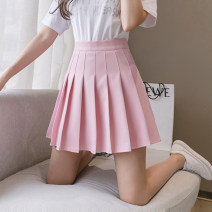 skirt Summer 2020 S M L XL 2XL White black blue pink Navy grey ginger apricot Short skirt commute High waist Pleated skirt Solid color Type A 25-29 years old 571-3JR other Hooyiu / Huoyu fold Korean version Pure e-commerce (online only)