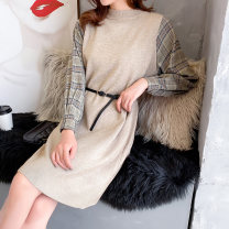 Dress Spring 2020 White Khaki black S M L XL Mid length dress Fake two pieces Long sleeves commute Crew neck middle-waisted other other other other Others 25-29 years old Beautiful appearance Korean version Splicing thread YZM Z122012 More than 95% knitting other Other 100%
