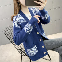 Wool knitwear Autumn 2020 S M L XL Blue light coffee green red purple Long sleeves singleton  Cardigan other More than 95% Regular routine commute easy V-neck routine Abstract pattern Single breasted Korean version YZM2020081022 25-29 years old Beautiful appearance Other 100%