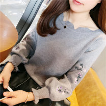 sweater Winter 2017 S M L XL Grey black pink off white Long sleeves Socket singleton  Regular other 95% and above Crew neck thickening commute Lotus leaf sleeve Regular wool Keep warm and warm 18-24 years old Beautiful appearance Yinzimiao az-11311 Embroider with lotus leaf Other 100%