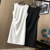 Dress Summer of 2019 White, black S,M,L,XL Mid length dress singleton  Sleeveless commute Crew neck High waist Socket A-line skirt other Type H Pleated, zipper