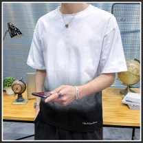 T-shirt Youth fashion Yellow white black white blue gray blue thin M L XL 2XL 3XL 4XL Language gram Short sleeve Crew neck easy Other leisure summer DV303-Yy Polyester 95% polyurethane elastic fiber (spandex) 5% youth routine tide Knitted fabric Summer 2021 Gradients Color contrast polyester fiber