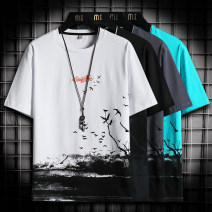 T-shirt Youth fashion thin M L XL 2XL 3XL 4XL Language gram elbow sleeve Crew neck easy Other leisure summer Cotton 100% youth routine tide Cotton wool Summer 2021 Alphanumeric printing cotton Geometric pattern No iron treatment Fashion brand Pure e-commerce (online only) More than 95%