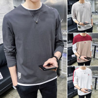 T-shirt Youth fashion routine M L XL 2XL 3XL Language gram Long sleeves Crew neck easy Other leisure autumn Cotton 100% youth routine tide Cotton wool Autumn 2020 Alphanumeric printing cotton Geometric pattern No iron treatment Fashion brand Pure e-commerce (online only) More than 95%