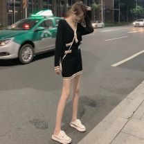 Dress Autumn 2020 Black top + skirt Khaki Top + skirt green top + skirt S M L XL Short skirt Two piece set Long sleeves commute V-neck High waist Solid color Socket A-line skirt routine Others 18-24 years old Vinata Korean version More than 95% other polyester fiber Polyester 100%