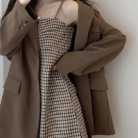 Dress Spring 2021 S M L XL longuette Two piece set Long sleeves commute tailored collar Solid color Single breasted A-line skirt routine Others 18-24 years old Type A Vinata Korean version Button More than 95% polyester fiber Polyester 100% Pure e-commerce (online only)