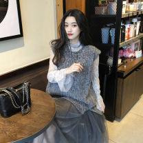 Dress Autumn 2020 Grey waistcoat + base + skirt black waistcoat + base + skirt S M L XL longuette Two piece set Long sleeves commute Crew neck High waist Solid color Socket other routine Others 18-24 years old Vinata Korean version 29415c More than 95% other polyester fiber Polyester 100%