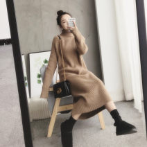 Dress Winter of 2018 S M L XL longuette singleton  Long sleeves commute High collar Loose waist Solid color Big swing routine Others 18-24 years old Type H Soaino Retro More than 95% knitting other Other 100%