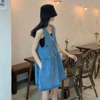 Women's large Summer 2020 Blue denim skirt S M L XL Two piece set commute Sleeveless Solid color Korean version Crew neck Soaino 18-24 years old Short skirt Other 100%