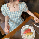 Women's large Summer 2021 Plaid long Plaid short S M L XL Self cultivation Short sleeve lattice square neck Medium length other puff sleeve Soaino longuette Other 100% Pure e-commerce (online only)