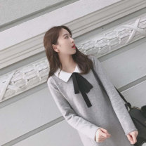 Dress Autumn of 2019 grey S M L XL Middle-skirt singleton  Long sleeves commute Doll Collar Loose waist Solid color Socket A-line skirt routine Others 18-24 years old Type A Soaino Korean version bow More than 95% other Other 100% Pure e-commerce (online only)