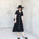 Dress Summer of 2019 Advanced black S M L XL 2XL 3XL longuette singleton  Short sleeve commute V-neck High waist Solid color Single breasted other other Others 18-24 years old Type A Soaino Retro bow SC0741 More than 95% other Other 100%