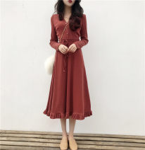 Dress Autumn of 2019 Red, black, apricot S M L XL Short skirt singleton  Long sleeves commute V-neck High waist Solid color Socket Big swing routine Others 18-24 years old Type A Soaino Korean version bow More than 95% other Other 100% Pure e-commerce (online only)