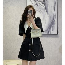 Women's large Summer 2021 black S M L XL commute Self cultivation Short sleeve Solid color Retro Medium length puff sleeve Soaino Short skirt Other 100% Pure e-commerce (online only)