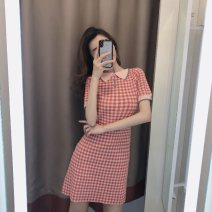 Dress Summer 2020 Pink ginger S M L XL Short skirt singleton  Short sleeve commute Doll Collar High waist lattice Socket other routine Others 25-29 years old Soaino Korean version Splicing More than 95% other other Other 100% Pure e-commerce (online only)