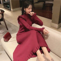 Dress Winter of 2019 Red Navy S M L XL longuette singleton  Long sleeves commute Half high collar Solid color Petal sleeve 18-24 years old Soaino Korean version Swallow tail More than 95% other Other 100%