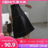skirt Autumn of 2019 XL S M L Navy Blue Mid length dress commute High waist A-line skirt Solid color Type A 18-24 years old D9636 More than 95% other raw water polyester fiber Pocket button Simplicity Polyester 100% Pure e-commerce (online only)