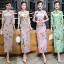 cheongsam Autumn of 2018 S M L XL XXL XXXL Xp879 green xp762 xp871 xp877 xp878 Long sleeves long cheongsam Retro High slit daily Oblique lapel Decor 18-25 years old Piping XP879 Janani other Other 100% Pure e-commerce (online only)