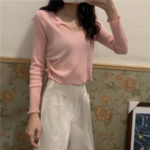 T-shirt Pink White Green S M L Autumn 2020 Long sleeves V-neck Self cultivation Regular routine commute other 96% and above 18-24 years old Solid color Sakai T8100# Other 100% Pure e-commerce (online only)