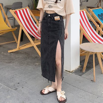 skirt Summer 2021 S. M, l (100-120 kg recommended), XL (120-140 kg recommended), 2XL (140-160 kg recommended), 3XL (160-180 kg recommended) to ensure that the real object is consistent with the picture Blue, black Mid length dress commute High waist Denim skirt Solid color Type A Denim Other / other