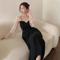 Dress Summer 2021 black L (recommended 100-120 kg), XL (recommended 120-140 kg), 2XL (recommended 140-160 kg), 3XL (recommended 160-180 kg), to ensure that the real object is consistent with the picture Mid length dress singleton  Long sleeves commute square neck High waist Solid color A-line skirt