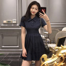 Women's large Summer 2021 Navy Blue S. M, l (recommended 100-120 kg), XL (recommended 120-140 kg), 2XL (140-160 kg recommended), 3XL (160-180 kg recommended), 4XL (180-200 kg recommended), to ensure that the real object is consistent with the picture Dress singleton  commute Self cultivation moderate