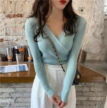 sweater Autumn 2020 L (recommended 100-120 kg), XL (recommended 120-140 kg), 2XL (recommended 140-160 kg), 3XL (recommended 160-180 kg), to ensure that the real object is consistent with the picture Apricot, light blue, white, black Long sleeves Socket singleton  polyester fiber V-neck Regular