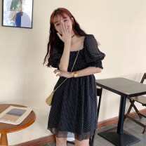 Women's large Summer 2020 Black dots M (recommended 80-100 kg), l (recommended 100-120 kg), XL (recommended 120-140 kg), 2XL (recommended 140-160 kg), 3XL (recommended 160-180 kg), 4XL (recommended 180-200 kg) to ensure that the real object is consistent with the picture Dress singleton  commute Dot