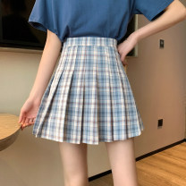 skirt Summer 2021 S. M, l (recommended 100-120 kg), XL (recommended 120-140 kg), 2XL (140-160 kg recommended), 3XL (160-180 kg recommended), 4XL (180-200 kg recommended), to ensure that the real object is consistent with the picture Short skirt commute High waist Pleated skirt lattice Type A