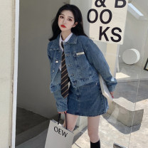 skirt Spring 2021 S. M, l, XL, 2XL, 3XL, 4XL, ensure the consistency between the real object and the picture chaqueta , Denim skirt , shirt Short skirt commute High waist Denim skirt Solid color Type A 31% (inclusive) - 50% (inclusive) Denim Other / other cotton Pocket, button Korean version