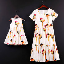 Parent child fashion White ice cream Women's dress female Childhooddays / Xiong Yinuo 80cm, 90cm, 100cm, 110cm, 120cm, 130cm, 140cm, 150cm, 155cm, 160cm, mom s, mom m, mom L, mom XL, mom XXL, 165 big boy, mom XXXL YL09 summer Europe and America Thin money Broken flowers skirt L,M,S,XL,XXL,XXXL